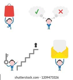 Vector illustration set of businessman mascot character.