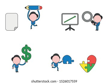 Vector illustration set of businessman mascot character running and carrying pencil to blank paper, holding magnifying glass to sales chart arrow up, carrying missing puzzle piece to heart puzzle.