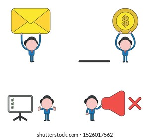 Vector illustration set of businessman mascot character holding up closed mail envelope and dollar money coin with moneybox, with three check marks inside presentation chart, holding sound off symbol.