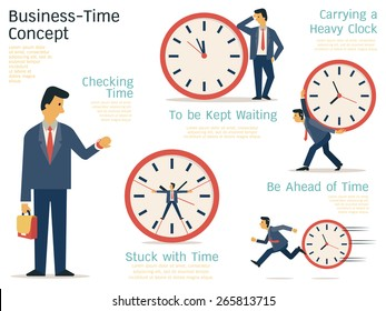 Vector illustration set of businessman in various character with time concept. Flat design.