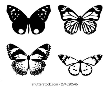 Vector illustration set of butterflies silhouettes isolated on white background
