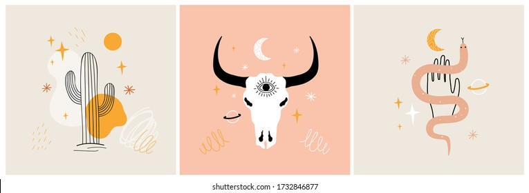 Vector illustration set with cactus, snake and cow or bull skull. Trendy apparel print collection with stars, planets and abstract elements. Colored decoration poster graphic designs