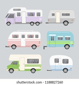 Vector illustration set of camping trailers. Concept of travel mobile home isolated on light grey background in flat cartoon style and pastel colors.