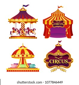 Vector illustration set of carnival circus emblems, icons with tent, carousels, flags isolated on white background in bright colors.