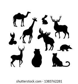 Vector illustration, set of cartoon animals silhouettes. Camel, fox, jaguar, elk, bear, armadill, hare, deer, impala, giraffe