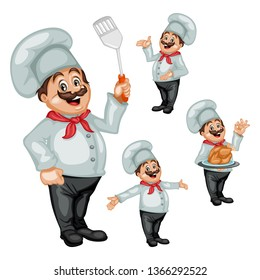 Vector Illustration Set of a Cartoon Cheerful Chef. Cook Welcoming People, Showing Ok Sign and Holding a Tray with Roast Chicken, Holding Spatula