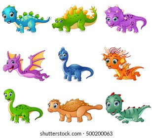 Vector illustration of Set of cartoon dinosaurs collections