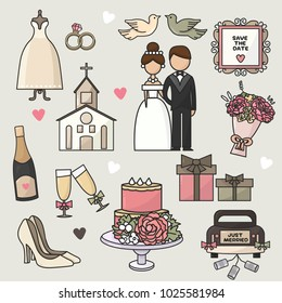 Vector illustration. Set of cartoon doodle wedding icons. Collection of romantic symbols. Wedding, marriage, bride, groom, engagement, holiday, shoes, ceremony, party, car. Background, wallpaper, back