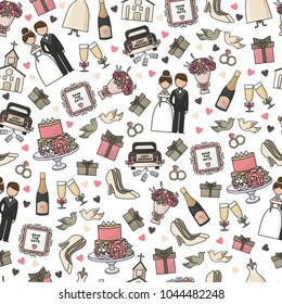 Vector illustration. Set of cartoon doodle wedding icons. Collection of romantic symbols. Wedding, marriage, bride, groom, engagement. Seamless pattern, packing, texture, wallpaper, background