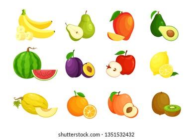 Vector illustration set of cartoon fruit. Fruits icon collection with mango, melon, slice banana, watermelon, apple, pear,  orange, peach, plum, kiwi, lemon, avocado  isolated on white background