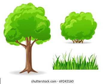 Vector illustration. Set of cartoon green plants. Tree, bush, grass.
