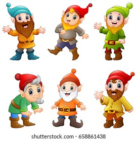 Vector illustration of Set of Cartoon happy dwarf