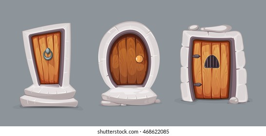 vector Illustration set of cartoon medieval doors and gate from wood. Pictures for 2D Ui game design. Outdoor. Various forms. Isolate on dark background