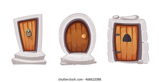 vector Illustration set of cartoon medieval doors and gate from wood. Pictures for 2D Ui game design. Outdoor. Various forms. Isolate on white background