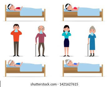 Vector illustration set of cartoon sick people runny nose. Isolated white background. Sick people lie in beds. Grandpa grandmother man woman sneeze into handkerchief. Flat style.