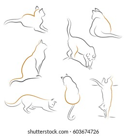 Vector illustration of a Set of Cat Icons