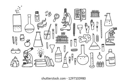 Vector illustration with a set with chemical vessels. Laboratory and Scientific Glassware