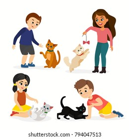 Vector illustration set of children and cats. Happy, funny kids playing, love and taking care of kittens, pet animals in flat cartoon style.