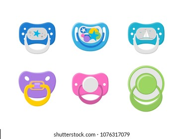 Vector illustration. Set of children's pacifiers.