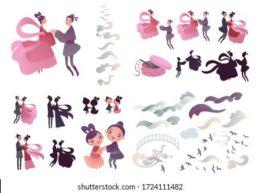 Vector illustration set for chinese valentine Qixi festival with couple of cute cartoon characters holding hands.