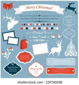 Vector illustration of a set of Christmas design elements in blue, red and white