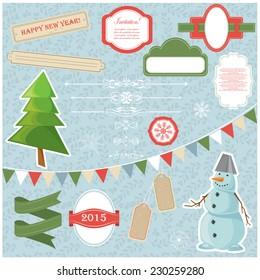 Vector illustration of a set of Christmas design elements