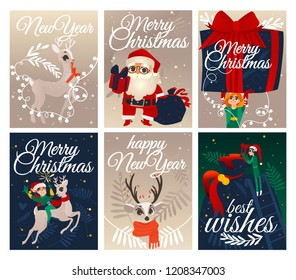 Vector illustration set of Christmas and New Year congratulation cards with traditional winter holiday symbols - Santa Claus, elf and reindeer for festive greeting design in flat cartoon style.