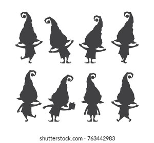 Vector illustration: Set of  christmas santa claus elf. Silhouettes isolated on white background.