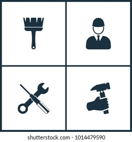 Vector Illustration Set Cinema Icons. Elements of Brush, Builder, Screwdriver and Hand holding hammer icon on white background