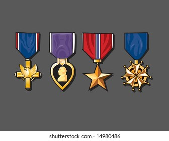Vector illustration of a set of classic war medals including a star, eagle and the purple heart