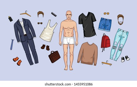 Vector illustration of a set of clothes and accessories for men. Urban fashion wardrobe, casual style and business suit for men. A man with clothes, shoes, bags and hairstyle elements for games