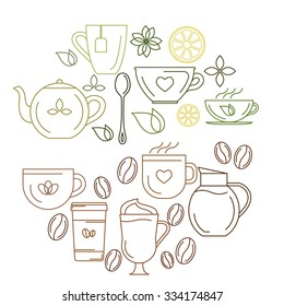 Vector illustration. Set of coffee and tea cups, symbols and design elements. Elements in trendy linear style.