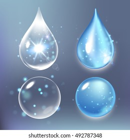 Vector illustration of Set collagen drops, water, transparent, hyaluronic acid.