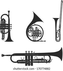 Vector illustration set of collected wind Instruments