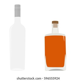 Vector illustration set, collection of alcohol bottles. Alcohol drinks icons. Glass vodka and whiskey bottle