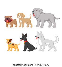 vector illustration of set collection with cute cartoon dog