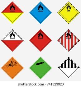Vector illustration set, collection of goods transportation danger, hazard, warning sign and symbols isolated on white background