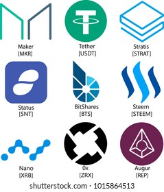 Vector Illustration Of Set Collection Maker, Tether, Status, Stratis, BitShare, Steem, Nano, 0x, Augur, MKR, REP, SNT, USDT, ZRX, STRAT, XRB, BTS Cryptocurrency Coin / Virtual Money Icon / Logotype
