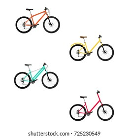 Vector illustration set, collection of new modern sport blue bicycle isolated on white background. Transport, transportation icon.