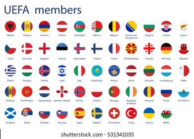 Vector illustration set, collection round flags of UEFA members.