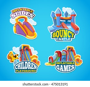 Vector illustration set of color emblems with toys for games on inflatable playground. Advertise labels with place for your text. Pictures isolate on blue background. Flat style