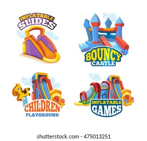 Vector illustration set of color emblems with toys for games on inflatable playground. Advertise labels with place for your text. Pictures isolate on white background. Flat style