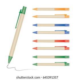 Vector illustration of set color full pens