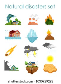 Vector illustration set of color icons natural disasters isolated on white background, collection of elements storm, fire and hurricane.