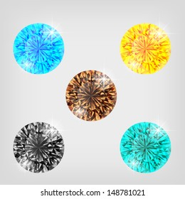 Vector illustration - set of colored diamonds. Created using transparency, gradient mesh and blending modes.