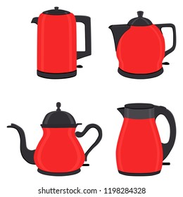 Vector illustration for set of colored electric teapots, kettles on stand. Teapot pattern consisting of iron electric kettle with handle, spout for draining liquid. Tea from kettle, coffee in teapot.