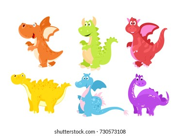 Vector illustration set of colorful funny dinosaurs and dragons in cartoon flat style.