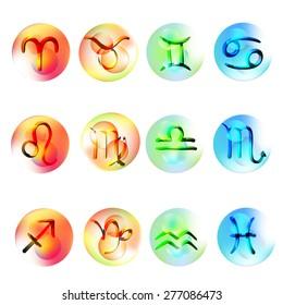 vector illustration set Colorful icons Zodiac like 3D