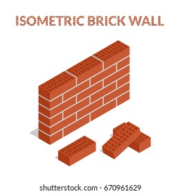 Vector illustration. Set of colorful icons of bricks and a brick wall. Isometric, 3D.