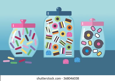 A vector illustration. Set of colorful licorice candies in glass candy jars on white background